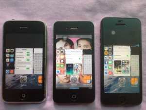 multitasking: iPhone3G, 4, 5